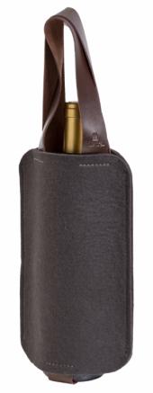 Porta-vinho Mistral em feltro com alça de couro para 1 garrafa - Cinza Chumbo