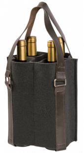 Porta-vinho Mistral em feltro com alça de couro para 4 garrafas - Cinza Chumbo