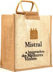 Sacola Mistral com alça de cana para 6 garrafas